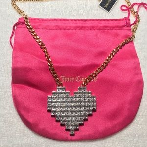 New Juicy Couture Heart Pave Gold Necklace